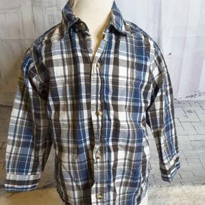 3/$15 Timberland brown plaid long sleeve shirt 4T